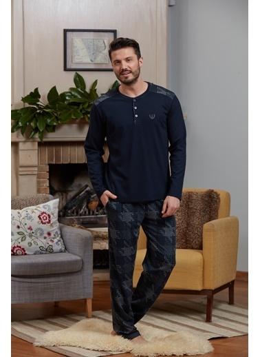 Eros O Patlı Uzun Kollu Pijama Takımı Lacivert